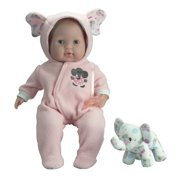 """JC Toys Berenguer Boutique Soft Body 15"""" Pink Baby Doll Open/Close Eyes with Play Elephant theme"""