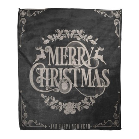 ASHLEIGH Flannel Throw Blanket Merry Vintage Christmas and New Year on Blackboard Chalk Retro Text Chalkboard 58x80 Inch Lightweight Cozy Plush Fluffy Warm Fuzzy - Chalk Stripe Flannel