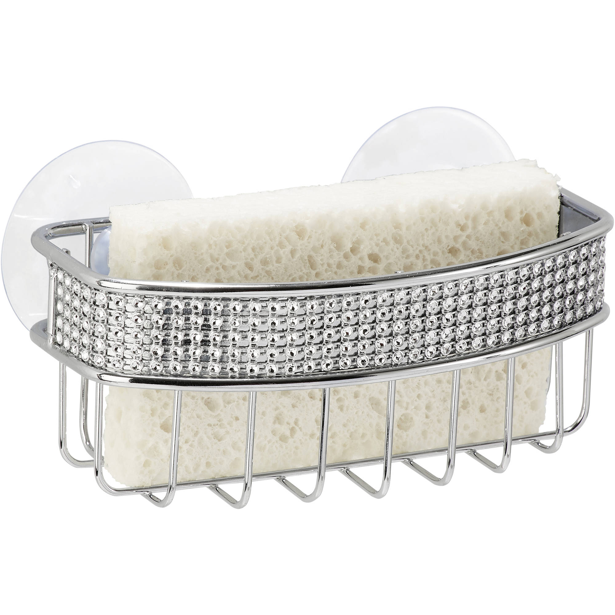 Simplify Sponge Holder with 2 Suction Cups, Chrome Pave Diamond Design