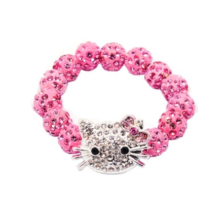 Hello Kitty Style Little Girls Pink Crystal Bracelet Jewelry, J-396-KT