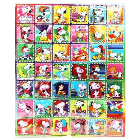Snoopy Sports And Sun Faux Postage Stamp Sticker Collection 42 Stickers
