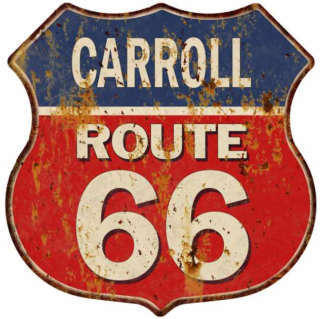 CARROLL Route 66 Blue Red Shield Sign Man Cave Garage 12x12 Gift Decor S128257