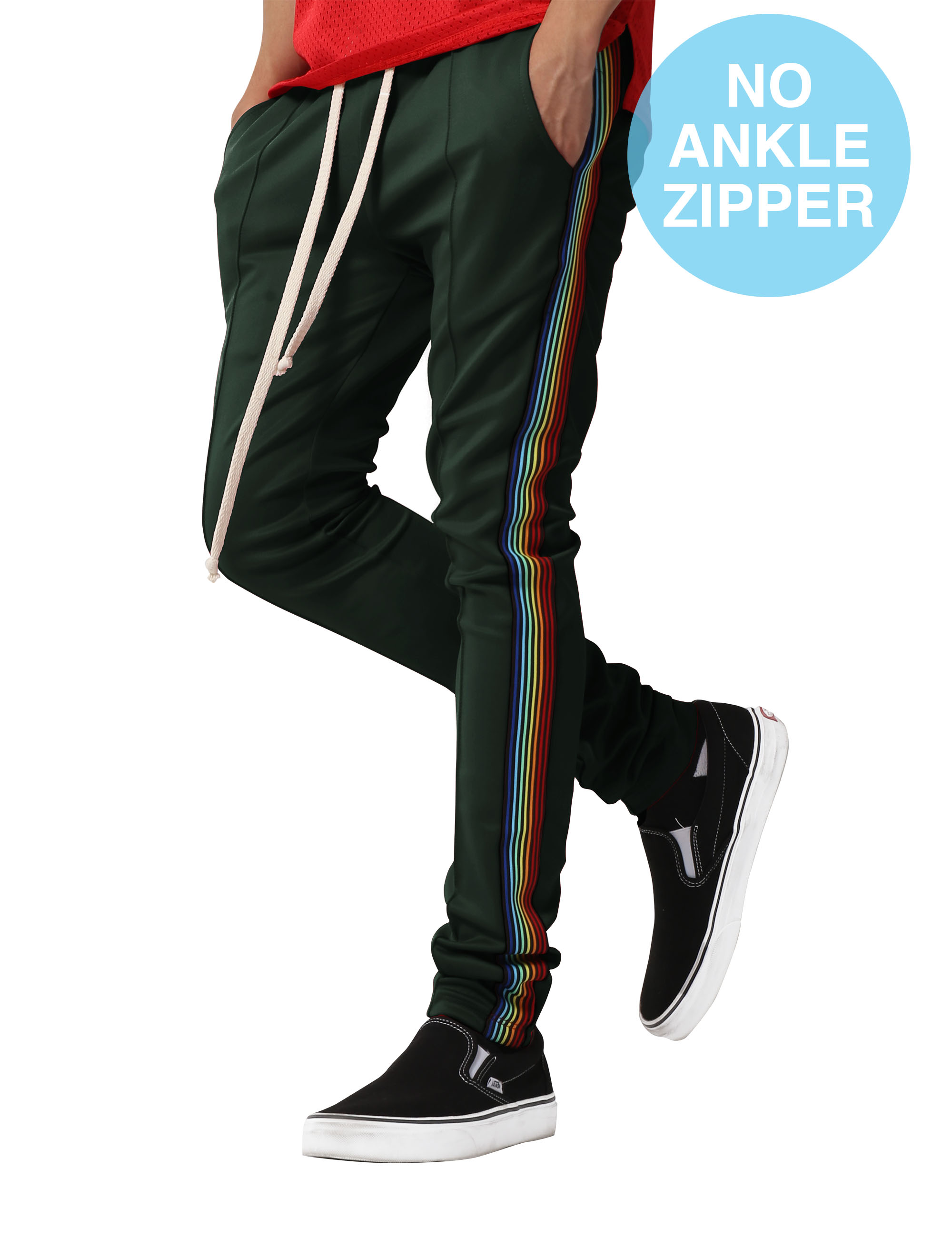 Mens Track Pants Tricolor Striped Skinny Fit Stretch Elastic Slim Trouser