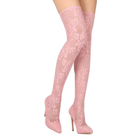 Red Thigh High Boots (New Women Liliana Xaya-15 Floral Lace Thigh High Pointy Toe Stiletto)
