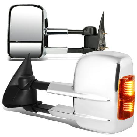 For 2003 to 2007 Chevy Silverado Suburban / GMC Sierra Yukon Pair Chrome Manual + LED Turn Signal Light Towing Mirror