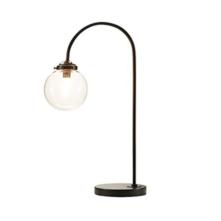 Industrial Venice Metal Pedestal Arched Table Lamp Painted Antique Bronze Finish with Glass Shade by INK+IVY - image 3 of 4