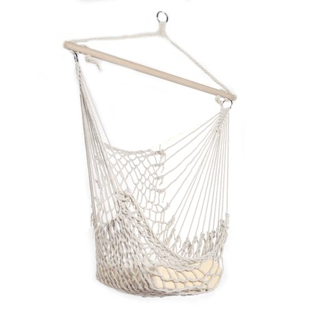 Hammock Chairs Hanging Rope Chair Outdoor Christmas Decorations Clearance, Swing Seat for Outside, Indoor&Outdoor Camping Chairs Patio Chairs White ()