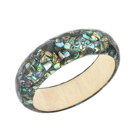 Vibrant Mosaic Peacock Abalone Shell Inlays on Wood Bangle Bracelet Wooden Bangles Shell