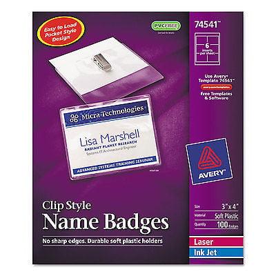 Avery Badge Holder Kit w/Laser/Inkjet Insert Top Load 3 x...