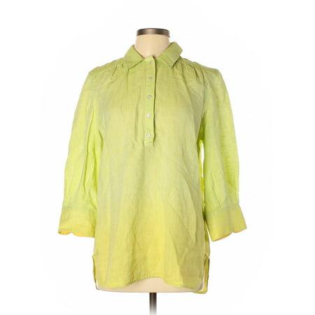 Pre-Owned Robert Graham Women's Size L 3/4 Sleeve Button-Down Shirt Robert Graham Designer Dress Shirt