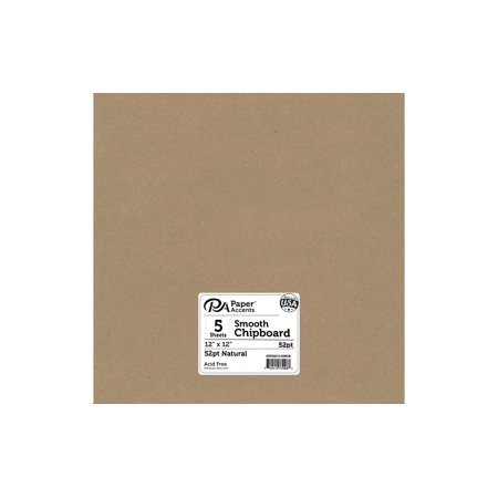 Chipboard 12x12 1X Heavy 52pt Natural 5pc