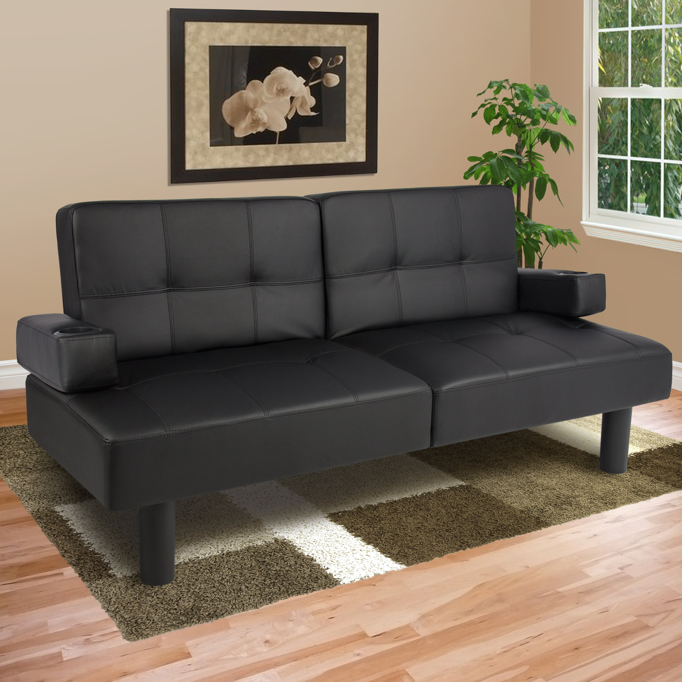 best choice products modern faux leather fold down convertible futon sofa bed w  2 cup holders   black   walmart   best choice products modern faux leather fold down convertible      rh   walmart