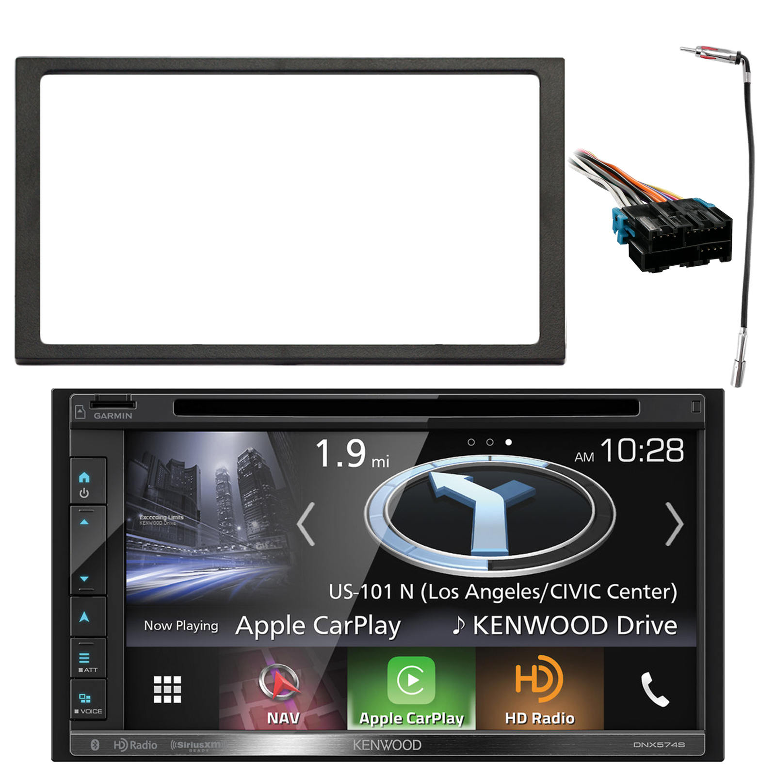 "Kenwood 2-DIN Navigation In-Dash DVD/CD/AM/FM Bluetooth Car Stereo w/ 6.8"" Resistive Panel, Enrock Double DIN Install Dash Kit, Metra Radio Wiring Harness, Antenna Adapter (Select 1994-2005 Vehicles)"
