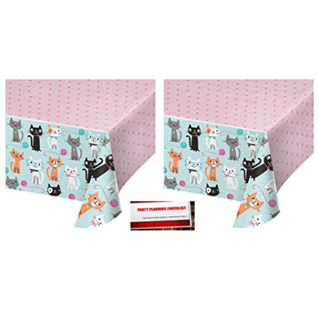 2 Pack - Kitty Cat Purr-FECT Party Plastic Table Cover 54 x 102 Inches (Plus Party Planning Checklist by Mikes Super Store) ()