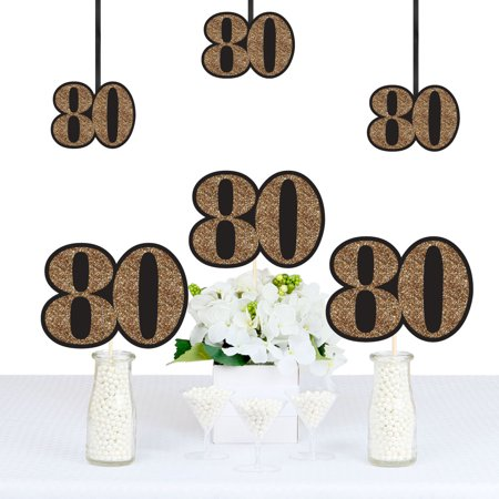 Adult 80th Birthday - Gold - Decorations DIY Party Essentials - Set of 20