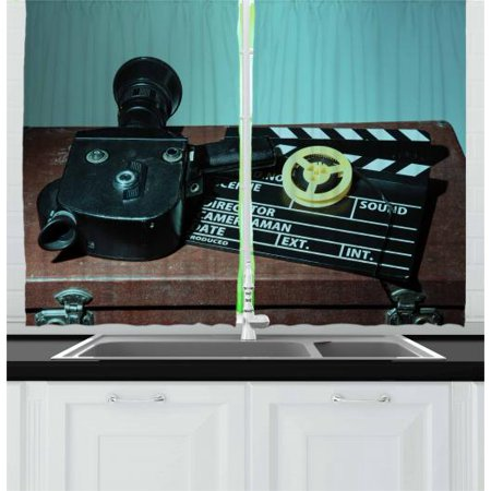 Old Hollywood Curtains 2 Panels Set, Retro Style Camera Clapper and Reel with Films on the Scratched Suitcase, Window Drapes for Living Room Bedroom, 55W X 39L Inches, Multicolor, by Ambesonne - Hollywood Theme Bedroom