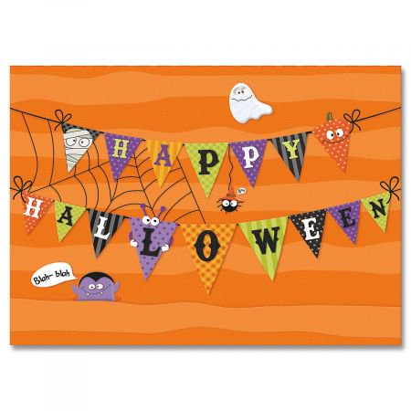 Banner Collage Halloween Greeting Cards- Set of 8 Halloween Greeting Cards - Halloween Party Names College