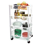 4-Tier Rolling Kitchen Cart for Storage and Organization, Black