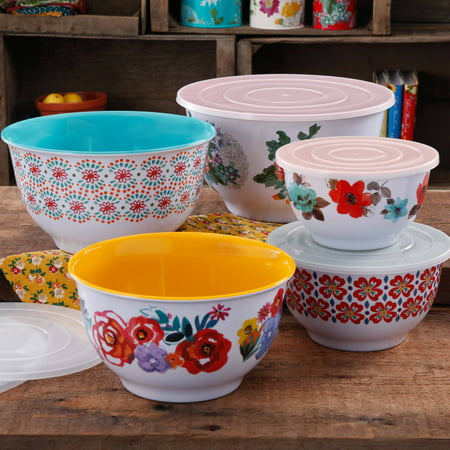 - The Pioneer Woman Country Garden Melamine Nesting Mixing Bowl Set with Lids, 10-Piece, Multiple Patterns