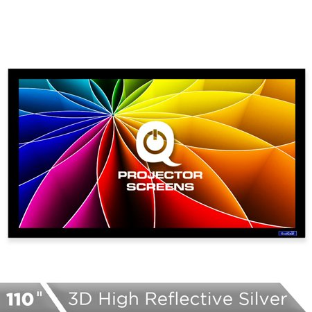 QualGear® 16:9 Fixed Frame Projector Screen, 110-Inch, 3D High Reflective Silver 2.5 Gain, QG-PS-FF6-169-110-S 110' Motorized Projection Screen