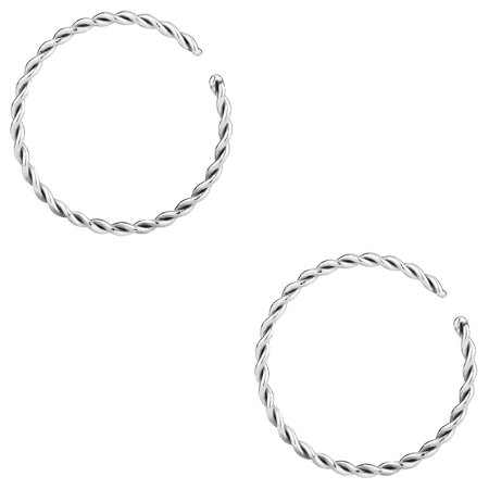 14G - 20G Set of Surgical Steel Braided Hoop Rings for Septum, Cartilage and Nose (Sold as Pair)