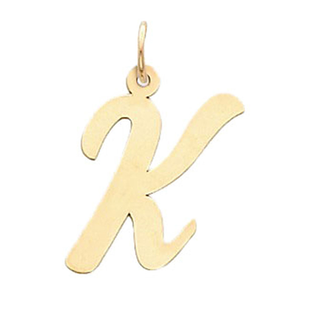 14K Yellow Gold Large Script Initial K Charm Pendant - 22MM (Golf Charms)
