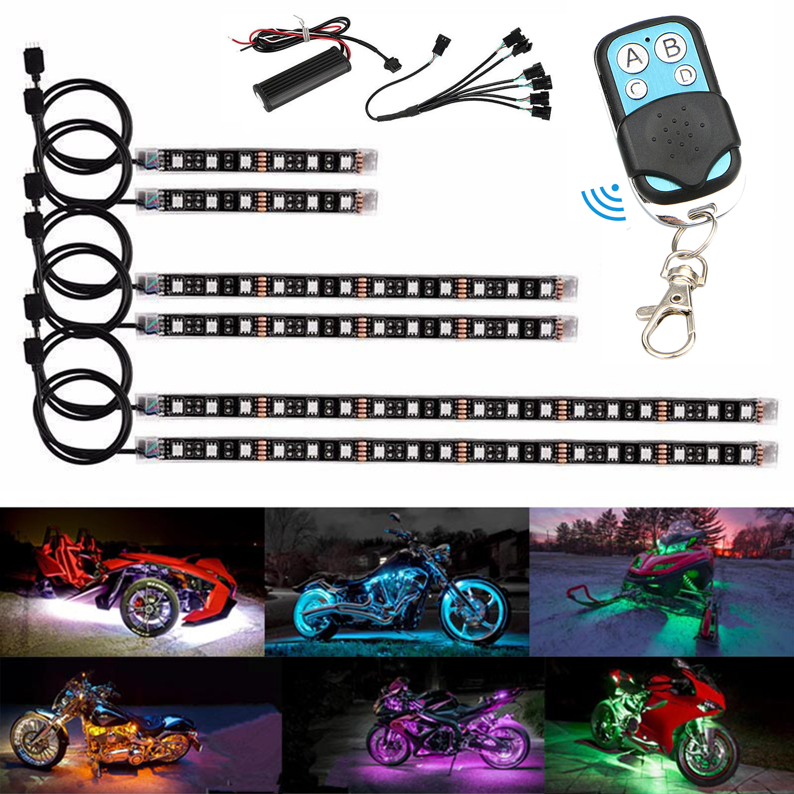 TSV 15 Color 6Pcs RGB Motorcycle ATV Flexible Strip LED Light Lamp NEON Remote Kit