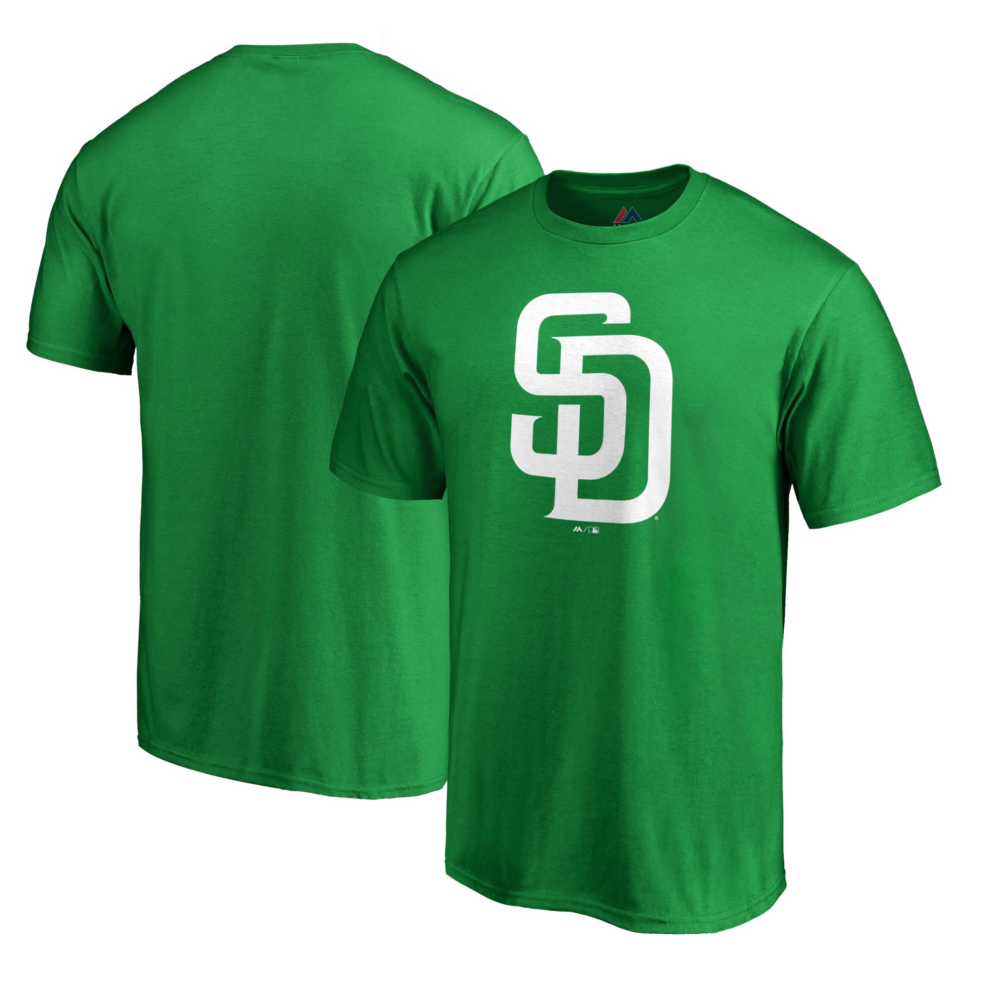 San Diego Padres Majestic St. Patrick's Day White Logo T-Shirt - Kelly Green