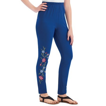 Women's Embroidered Floral Design Jersey Knit Leggings with Elastic Waistband, Design on One Leg for Trendy Style, Medium,