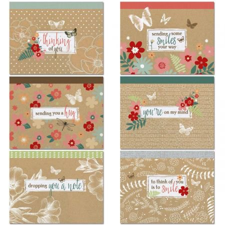 Thinking of You Kraft Note Cards Value Pack - Set of 12 (6 designs) Blank Inside 4-1/4