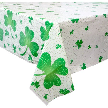 Plastic Lucky Shamrock St. Patrick's Day Table Cover, 84