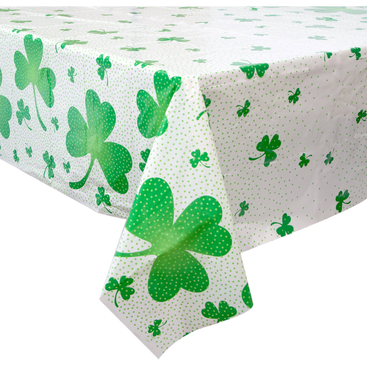 "Plastic Lucky Shamrock St. Patrick's Day Table Cover, 84"" x 54"""