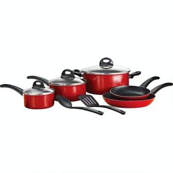10-Piece Mainstays Non-Stick Aluminum Red Cookware Set