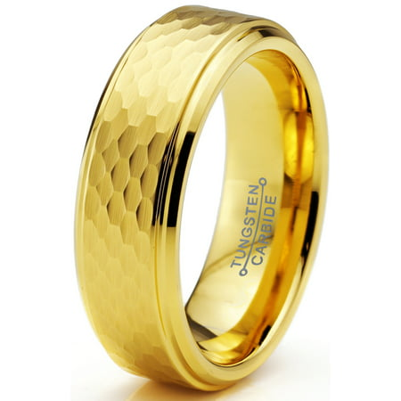 - Tungsten Wedding Band Ring 6mm for Men Women Comfort Fit Hammerd 18K Yellow Gold Plated Step Beveled Edge Brushed Polished Lifetime Guarantee