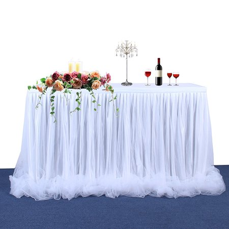 Raffia Table Skirt Bulk (Large Size 72*30 Inch Handmade Tutu Tulle Table Skirt Cloth for Party Wedding Home)