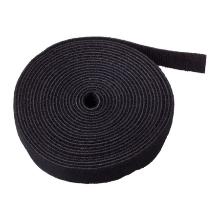 "Hook And Loop Tape Strap Cable Ties Fastener (Black) (15 Feet) - Sticky Self Adhesive Nylon Fabric Roll Wrap 0.75"" Wide 5 Yards Reusable For Cutting Custom Length Cord Wire Fastening"