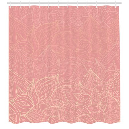 Floral Shower Curtain, Pastel Toned Nature Inspired Leaf Figures Background Botany Themed Illustration, Fabric Bathroom Set with Hooks, Coral Peach, by Ambesonne Orange Floral Background