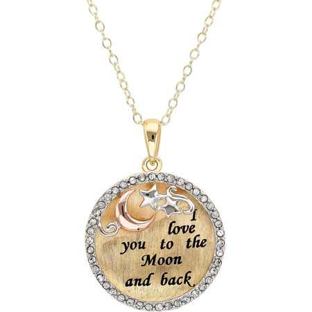 Sterling Silver and 18K Gold-Plate Round Crystal Border Celestial Theme Pendant, 18