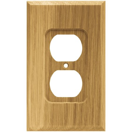 64665 Wood Square Single Duplex Outlet Wall Plate / Switch Plate / Cover, Medium Oak, Single Duplex Wall Plate By Brainerd Ship from -