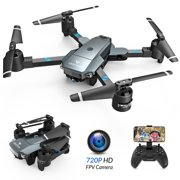 SNAPTAIN A15H-720 Foldable 720P HD Camera Drone with Live Video 120° Wide-Angle Wifi Quadcopter ,Trajectory Flight/Altitude Hold/Headless Mode/3D Flip/One Key Return for Beginners Grey