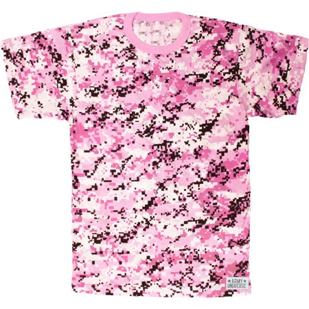 Army Universe - Pink Digital Camouflage Short Sleeve T-Shirt with ARMY  UNIVERSE Pin - Size Medium (37