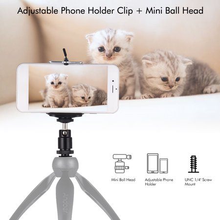 Adjustable Phone Holder Clip + Mini Ball Head with 1/4 Inch Screw Mounts for Canon Nikon Sony DSLR Mini DV Monitor Video Light Tripod for Huawei 5.5-8.5cm Width (Sony Hmz T3w Head Mounted 3d Viewer)