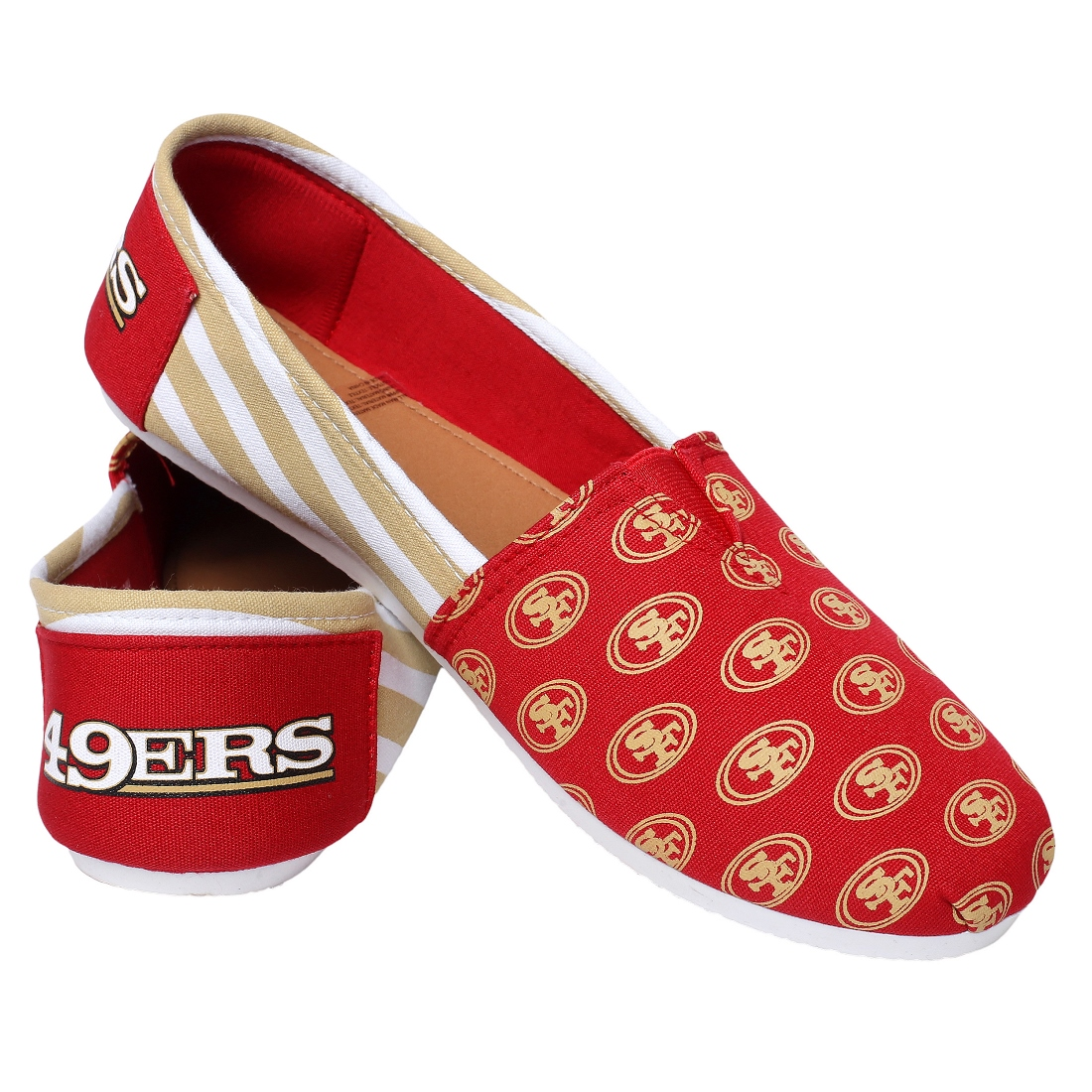 San Francisco 49ers Women's NFL Slip On Canvas Stripe Shoe Slippers