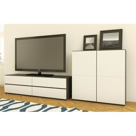 2-Pc Eco-Friendly Modern Entertainment Set in White
