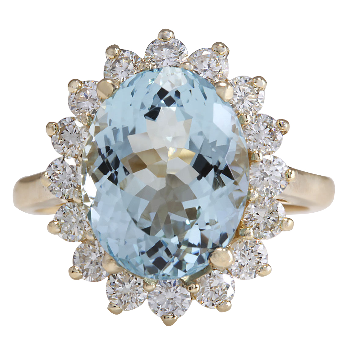 6.50CTW Natural Aquamarine And Diamond Ring 14K Solid Yellow Gold by