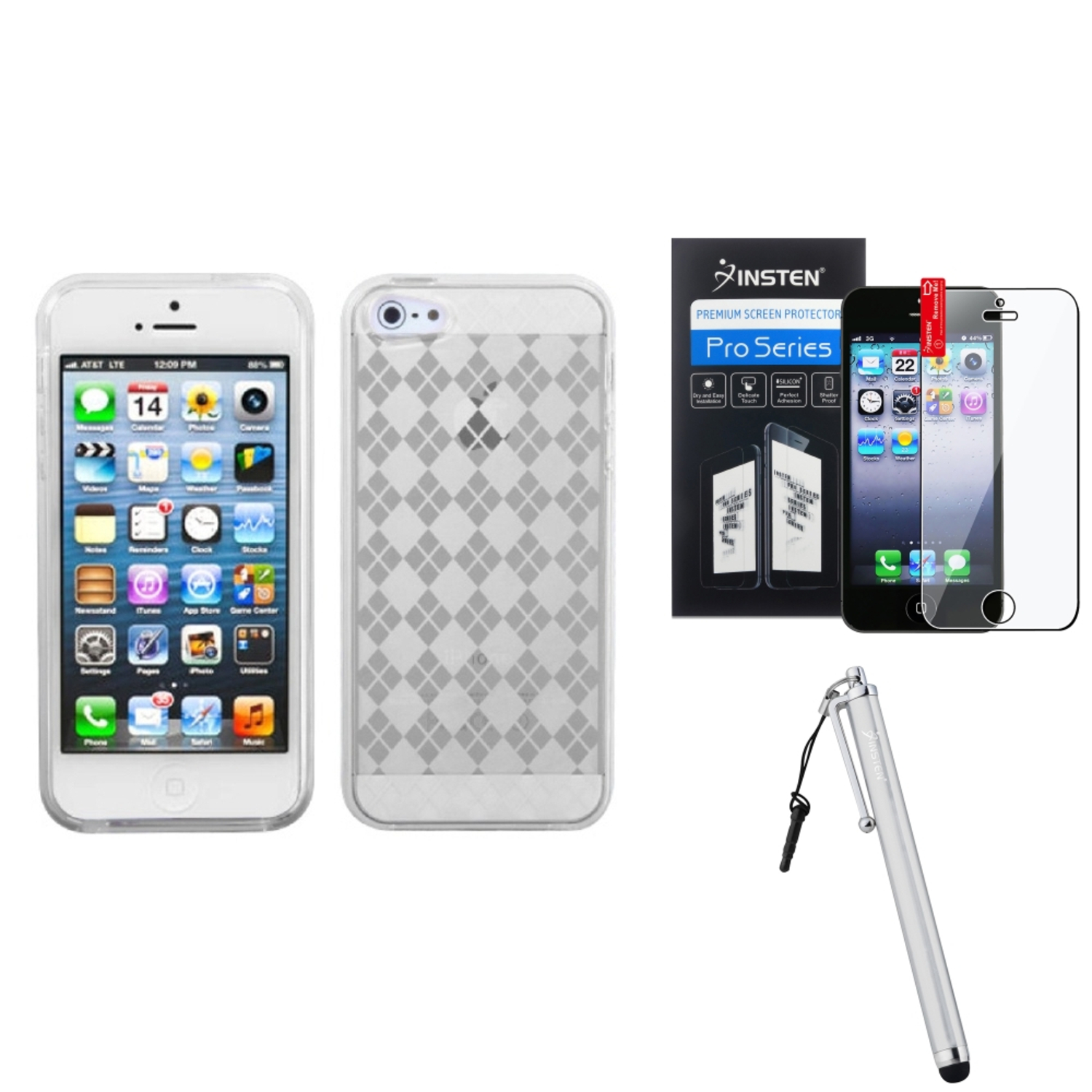 Insten T-Clear Argyle Candy Skin Case For iPhone 5 / 5s   Film   Stylus Pen