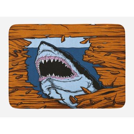 Shark Bath Mat, Wild Fish Breaking Wooden Plank Danger Sign Killer Creature Fun Illustration, Non-Slip Plush Mat Bathroom Kitchen Laundry Room Decor, 29.5 X 17.5 Inches, Ginger Dark Blue, (Dangers Of 2nd Floor Laundry Room Vibration)