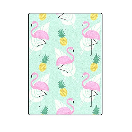 CADecor Tropical Pink Flamingos Pineapples And Palm Leaf Blanket Throw Super Soft Warm Bed or Couch Blanket 58x80 inches