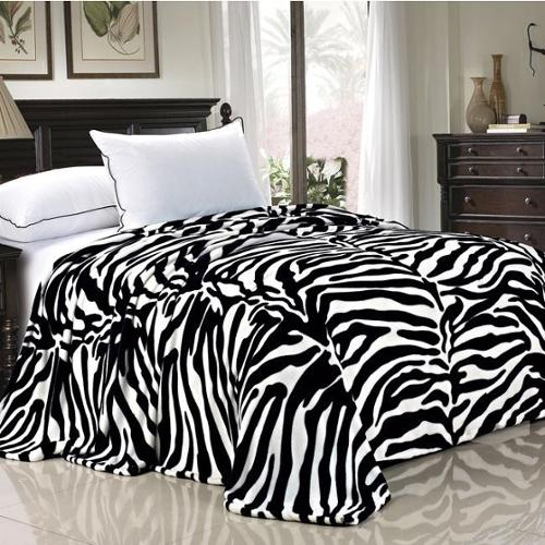 BOON Lightweight Printed Safari Animal Flannel Fleece Blanket Twin - Black White Zebra