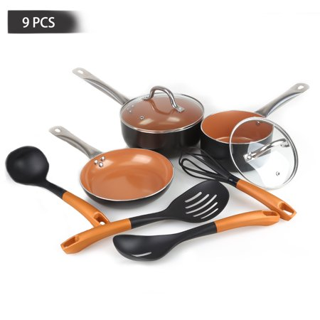 "FGY Copper Nonstick 9 PCS Cookware Pots & Pan Set with Glass Lid 8""Round Fry Pan,1.5qt / 2.5qt Covered Saucepan with 4 Kitchen Utensils Set[Induction/Gas/Electric/Ceramic/Halogen](Black) Chefs Copper Sauce Pan"